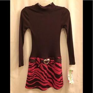 Ashley Ann Girls Brown Pink Bottom Belted Dress